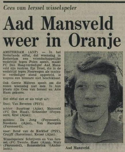 Aad Mansveld Aad Mansveld weer in oranje ADO Den Haag Nieuws