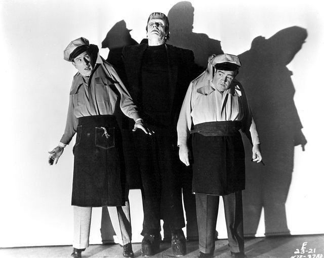 Abbott and Costello Meet Frankenstein movie scenes Glenn Strange menaces Abbott and Costello in this publicity shot courtesy doctormacro com