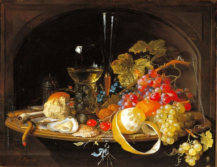 Abraham Mignon Food in the Uffizi Gallery in painting not to eat