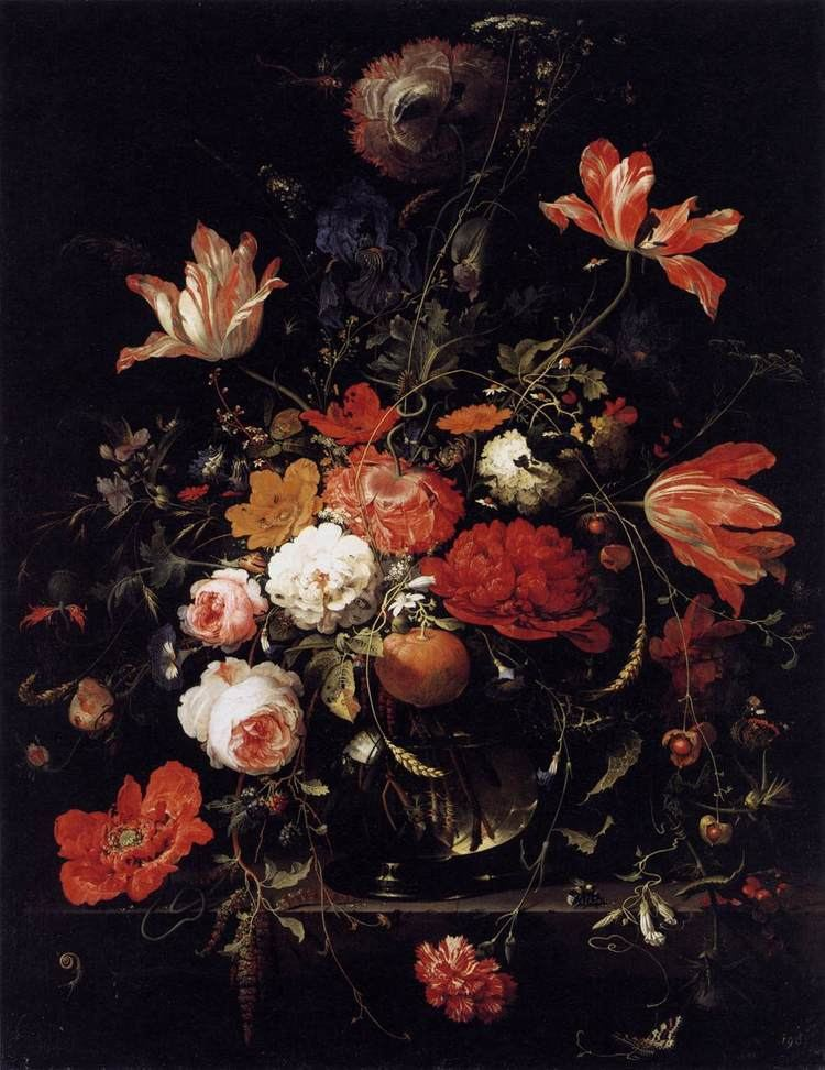 Abraham Mignon A Glass of Flowers and an Orange Twig by MIGNON Abraham