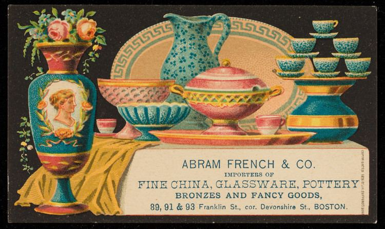 Abram French Trade card for Abram French Co importers of fine china