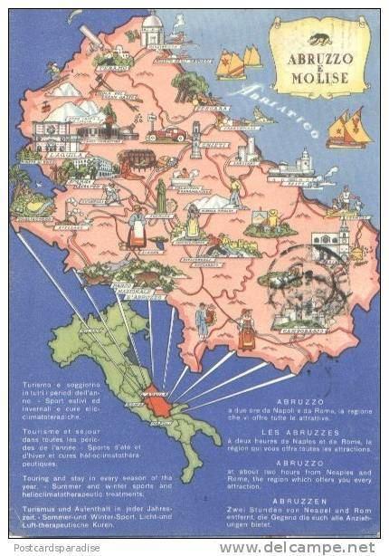Abruzzi e Molise Maps Map Postcard Italy Abruzzo e Molise