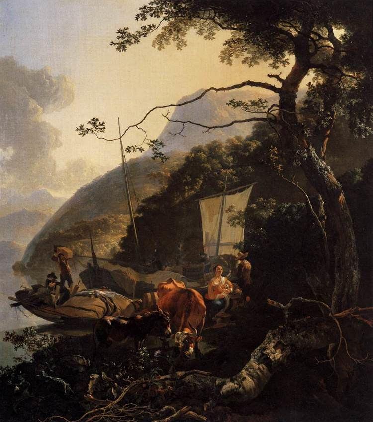 Adam Pynacker FileBoatmen Moored on a Lake Shore 1668 Adam Pynackerjpg