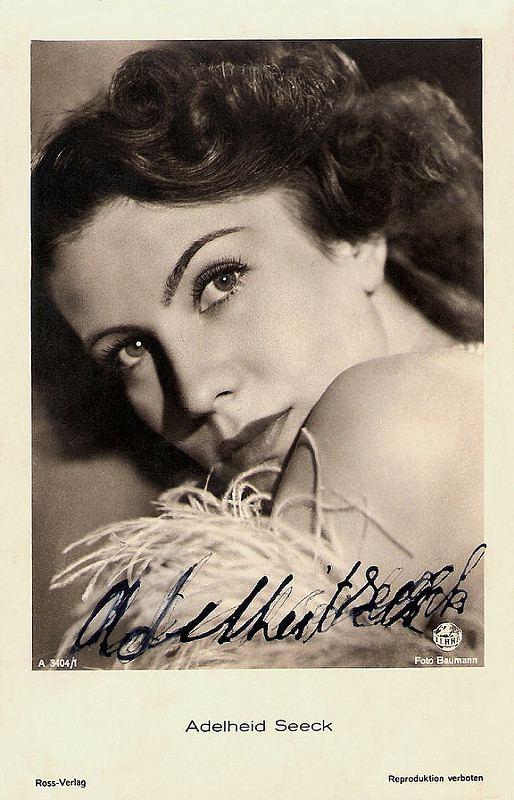 Adelheid Seeck European Film Star Postcards Adelheid Seeck