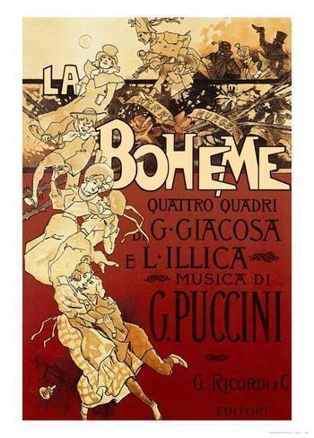 Adolfo Hohenstein La Boheme Musica di Puccini Print by Adolfo Hohenstein at