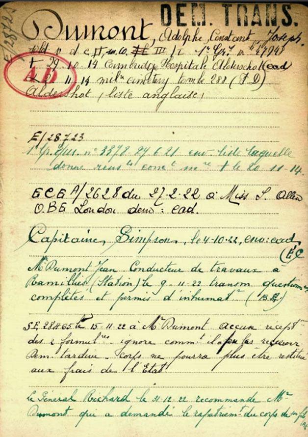 Adolphe Dumont Adolphe Dumont 1er rgiment de grenadiers tait domicili Meix