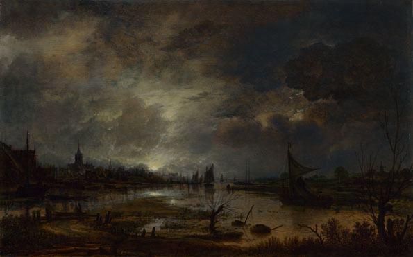 Aert van der Neer Aert van der Neer A River near a Town by Moonlight