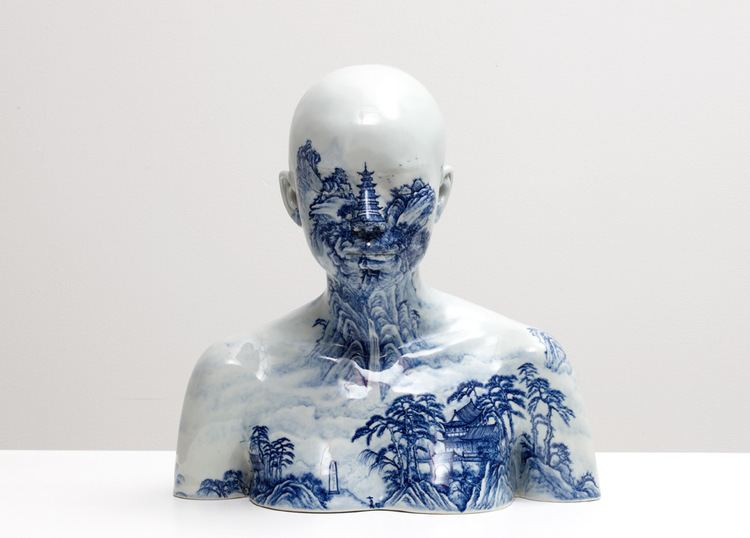 Ah Xian Porcelain Busts Imprinted with Chinese Decorative Designs by Ah Xian