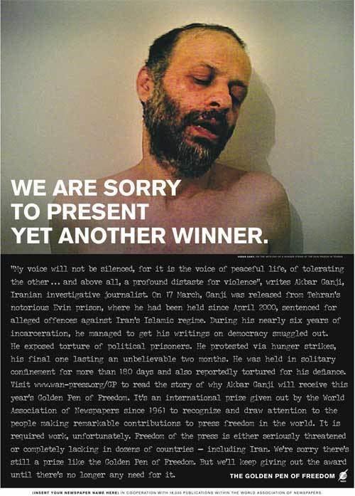 Akbar Ganji Golden Pen of Freedom Awarded to Iranian Journalist Akbar Ganji