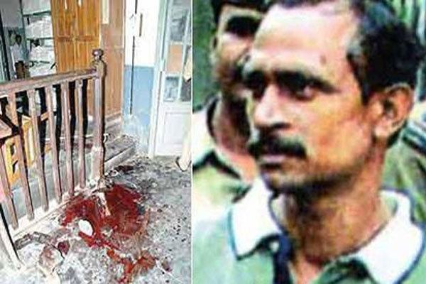 On the left, a crime scene with blood on the floor. On the right, Akku Yadav with a mustache.