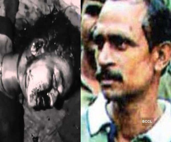 On the left, a dead body. On the right, Akku Yadav with a mustache.