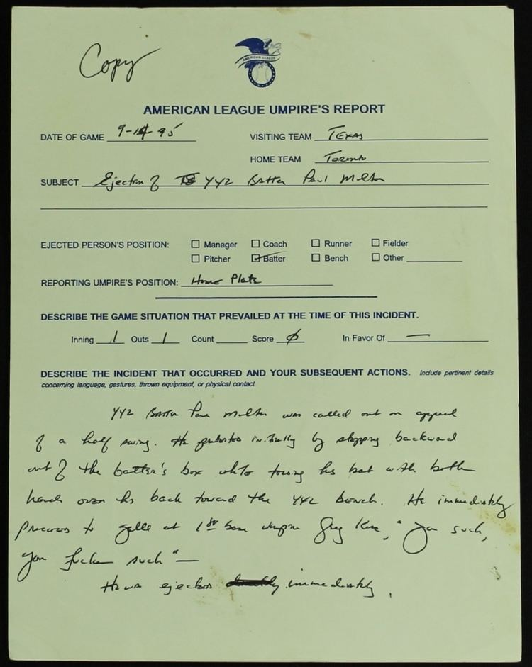 Al Clark (umpire) Paul Molitor Umpire Ejection Report Completely Filled Out