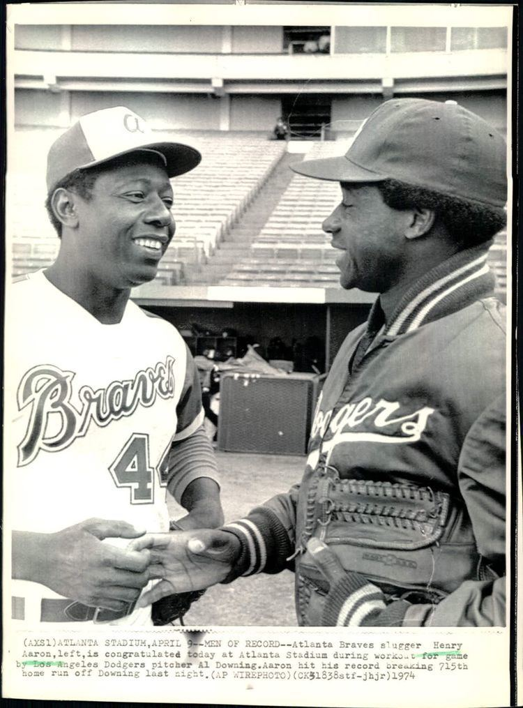 Al Downing (baseball) Lot Detail 1974 Hank Aaron Atlanta Braves Gets Congrats