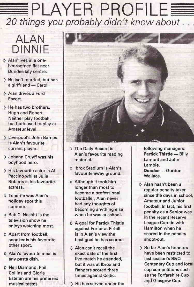 Alan Dinnie 1991 Alan Dinnie Dundee The Partick Thistle History Archive