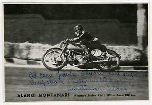 Alano Montanari Motorcycle Road Racer Alano Montanari Vintage Signed Photograph