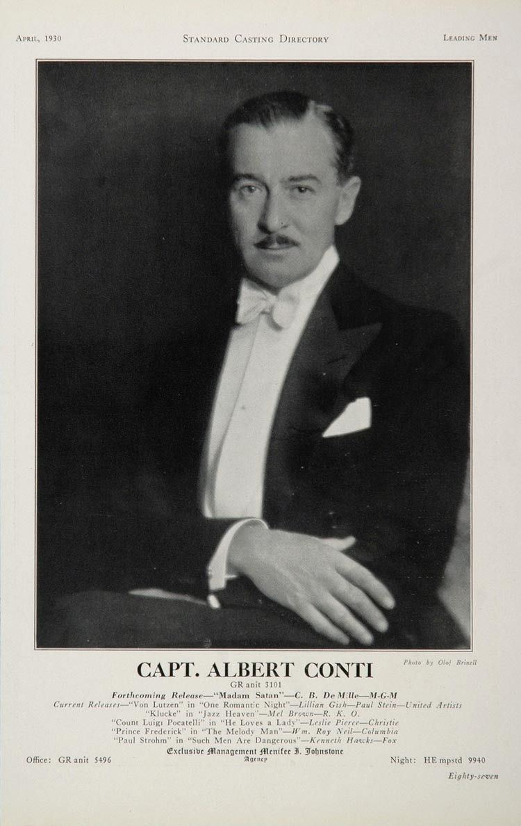 Albert Conti 1930 Capt Albert Conti Movie Film Actor Casting Ad ORIGINAL CAST2