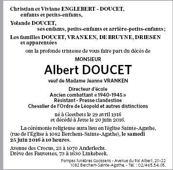 Albert Doucet Albert DOUCET de Jette Annonce de dcs sur enmemoirebe en mmoire