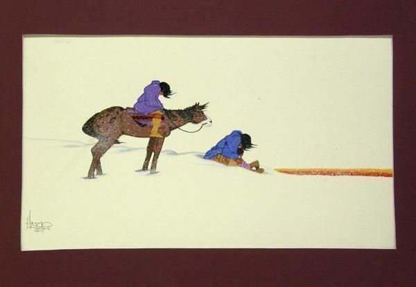 Albert Harjo Original Watercolor by Creek Artist Albert Harjo