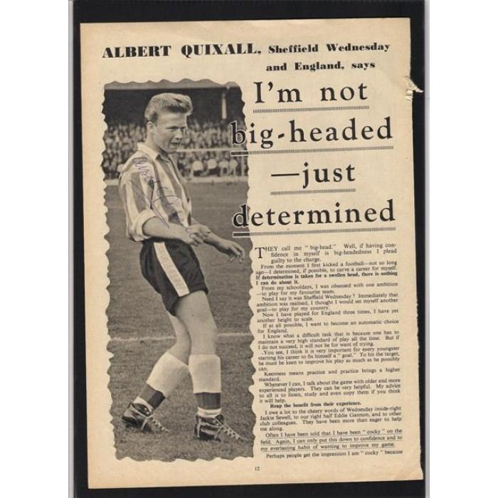 Albert Quixall Signed picture of Albert Quixall the Sheffield Wednesday footballer