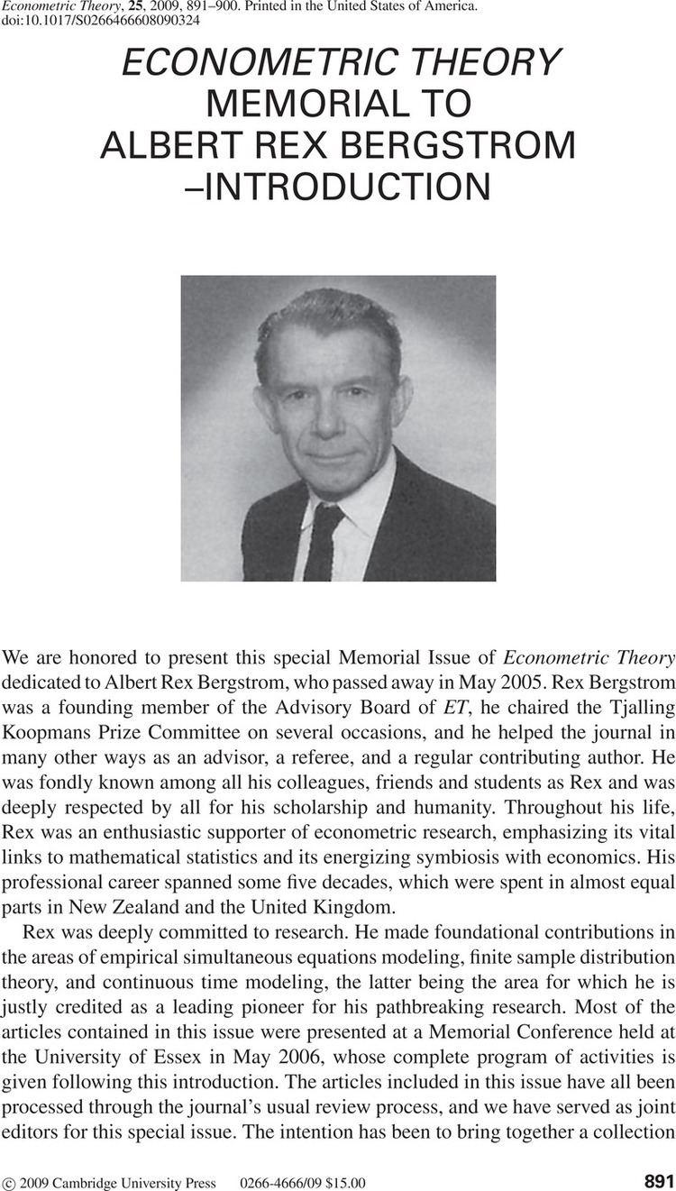 Albert Rex Bergstrom ECONOMETRIC THEORY MEMORIAL TO ALBERT REX BERGSTROMINTRODUCTION