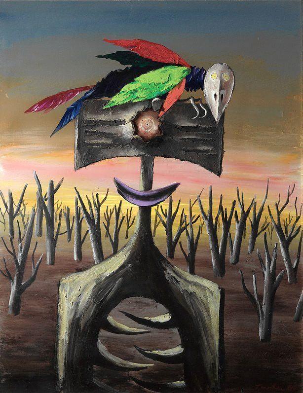 Albert Tucker (artist) Faun attacked by parrot 3 1968 by Albert Tucker The
