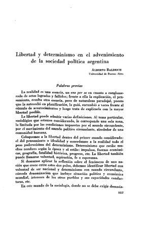 Alberto Baldrich Alberto Baldrich Libertad y determinismo en el advenimiento de la