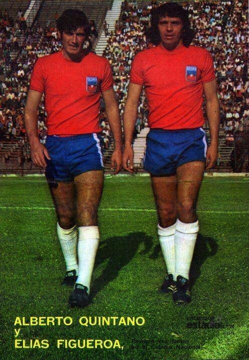 Alberto Quintano Alberto Quintano and Elias Figueroa of Chile in 1973 cromos