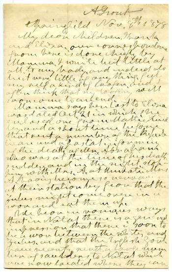 Aldin Grout Letter from Aldin Grout to Frank Hugh and Eliza Foster November 8 1878