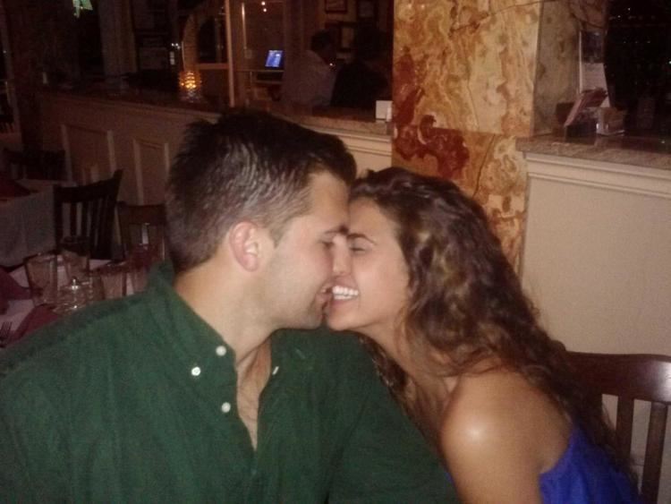 Alejandro Villanueva (American football) with spouse Madelyn Villanueva