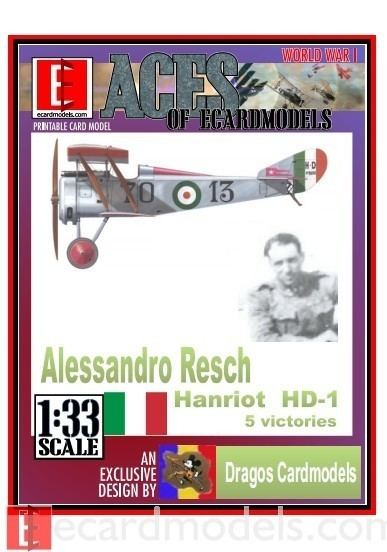 Alessandro Resch 133 Aces Alessandro Resch Hanriot HD1 Paper Model