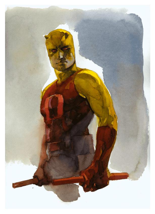 Alex Maleev Sketched Watercolor Superheroes By Alex Maleev