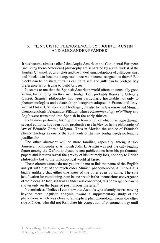Alexander Pfänder Linguistic Phenomenology John L Austin and Alexander Pfnder