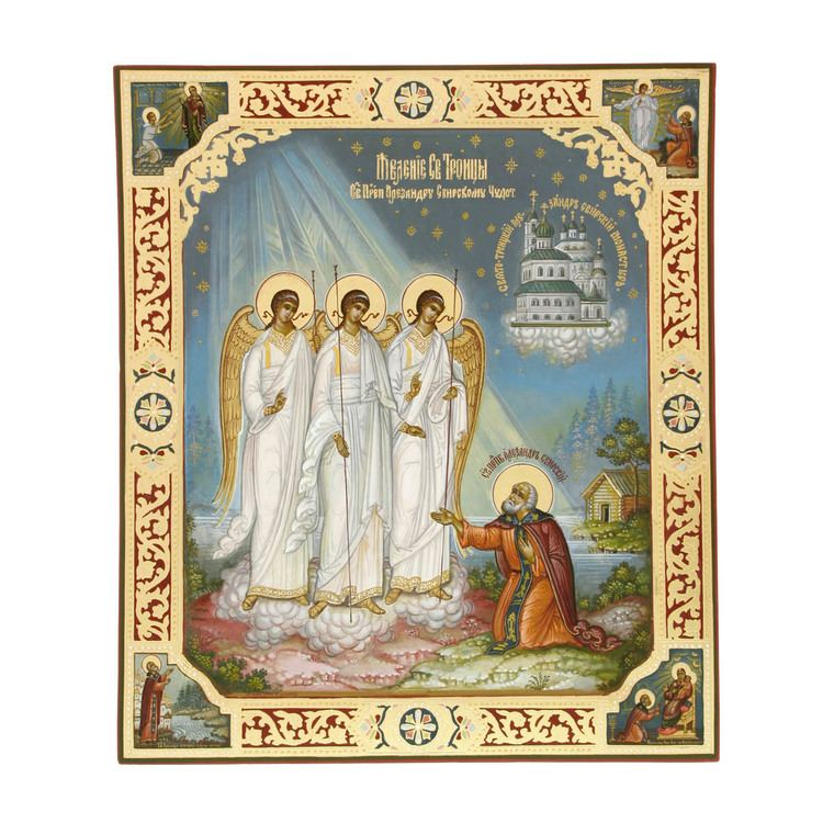 Alexander Svirsky Icon of Appearance of the Trinity to Alexander Svirsky 12icn59