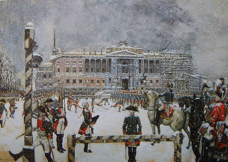 Alexandre Benois Military Parade of Emperor Paul in front of Mikhailovsky