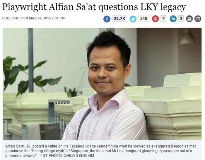 Alfian Sa'at Straits Times publishing Alfian Saat posts on LKY Because its