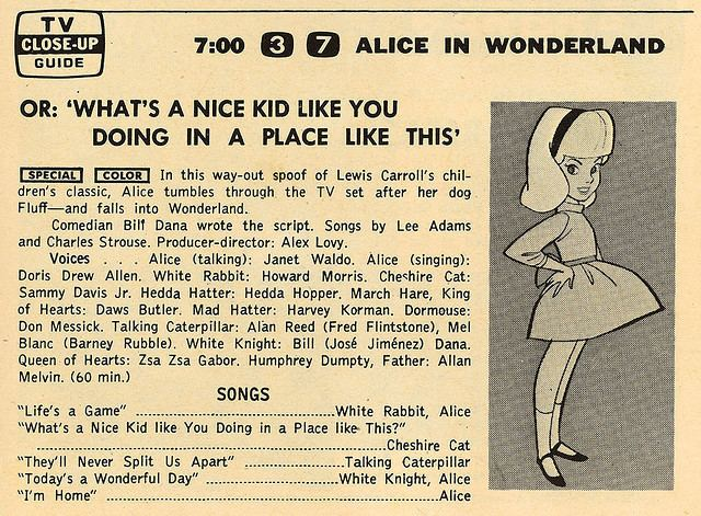 Alice in Wonderland or What's a Nice Kid Like You Doing in a Place Like This? 1966 My Favorite Year Alice in Wonderland or What39s a Nice Kid Like