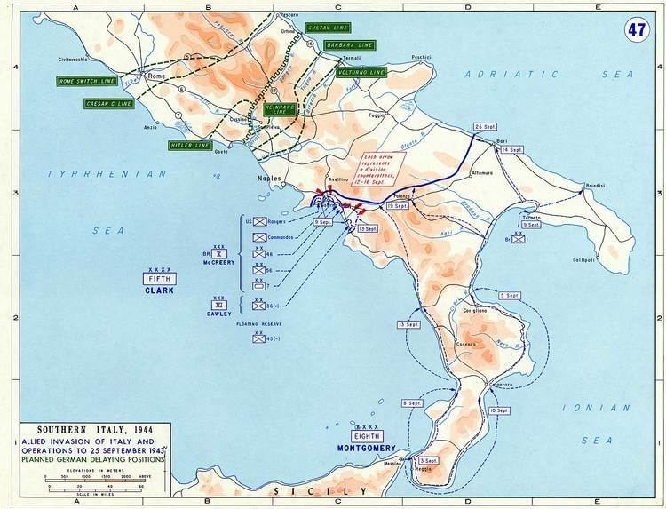 Allied invasion of Italy Map of Allied Invasion of Italy September 1943