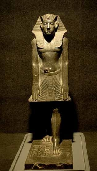 Amenemhat III Stern faced statue of Amenemhat III carved from Black Granite