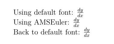AMS Euler math mode Using AMS Euler Font for a portion of a document TeX