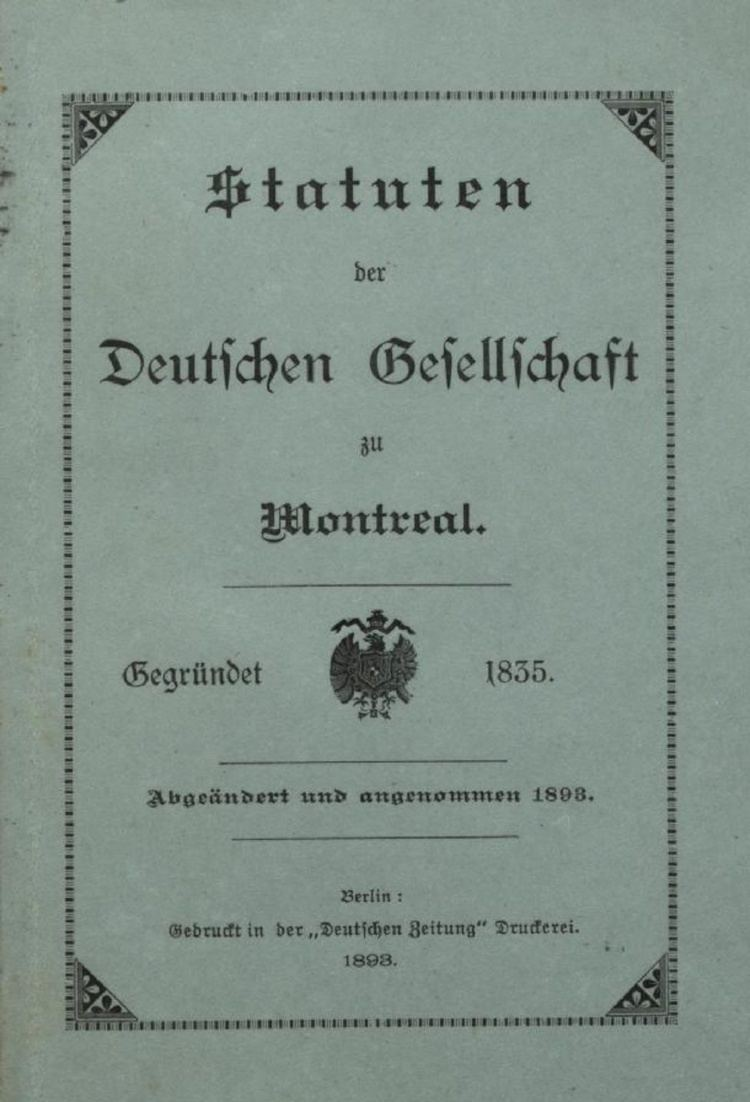 An Act to incorporate the German Society of Montreal