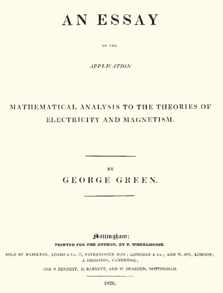 An Essay on the Application of Mathematical Analysis to the Theories of Electricity and Magnetism