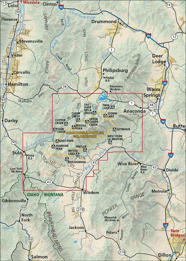 Anaconda-Pintler Wilderness AnacondaPintler Wilderness Map
