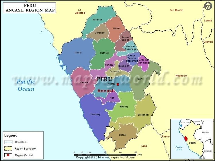 Map of Ancash Region Peru