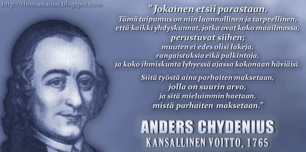 Anders Chydenius Anders Chydenius taloustieteen edellkvijn Ludwig von