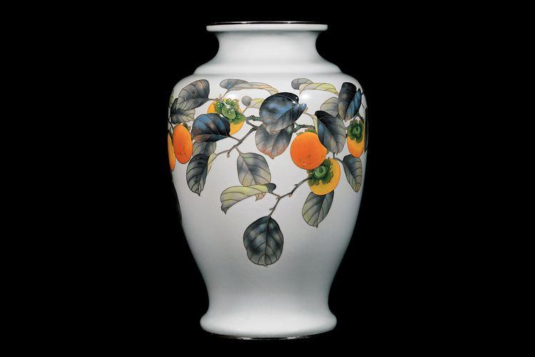 Ando Jubei Kagedo Japanese Art Ando Jubei Moriage Cloisonn Persimmon Vase