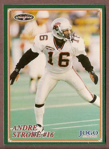 Andre Strode Andre Strode CFL card 1998 Jogo 150 BC Lions Colorado State Rams