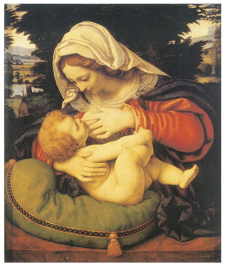 Andrea Solari Madonna With The Green Cushion by Andrea Solari