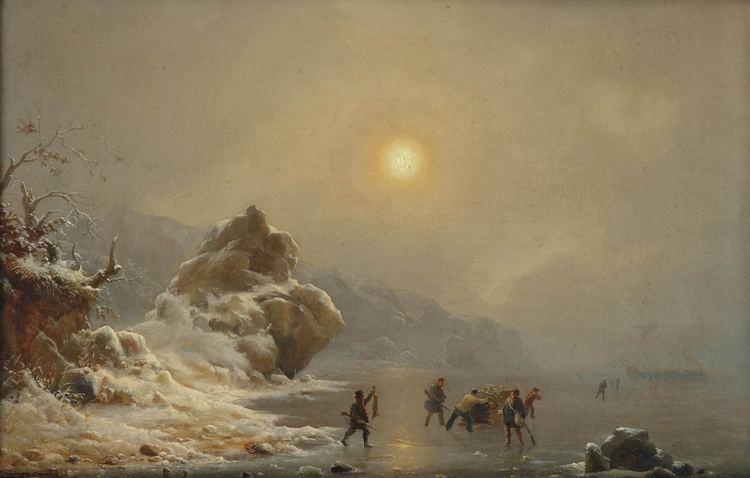 Andreas Achenbach FileAndreas Achenbach Eine Winterlandschaft mit Jgern auf dem