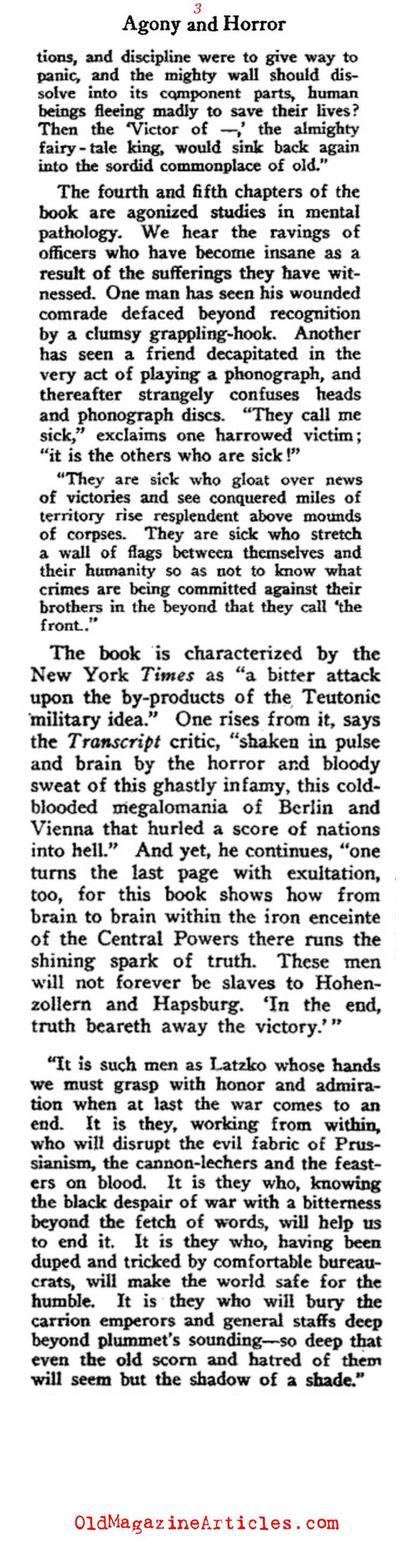 Andreas Latzko ANDREAS LATZKO BOOK REVIEW 1918ANTIWAR NOVELS 1918ANTIWAR NOVEL