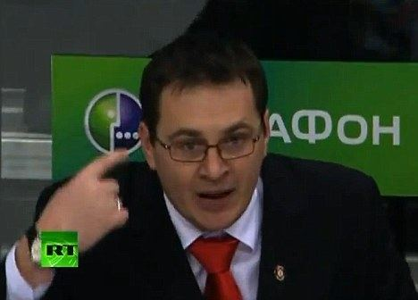 Andrei Nazarov Russian coach Andrei Nazarov attacks fans with ice hockey